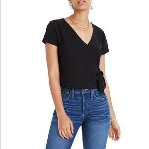 Madewell Texture And Thread Wrap Tie Front Top